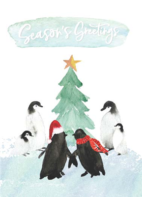 Penguin Watercolor Holiday Card