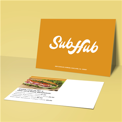 "5"" x 7"" Solid Color with Logo Restaurant Postcard"