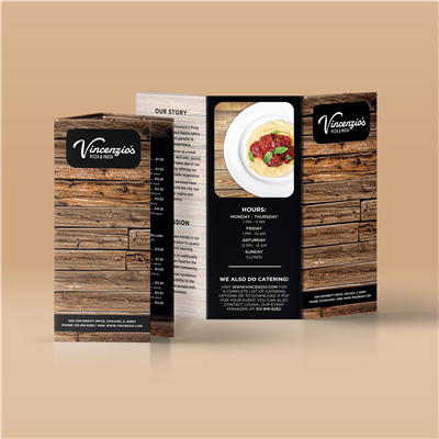 Woodgrain Menu Brochure
