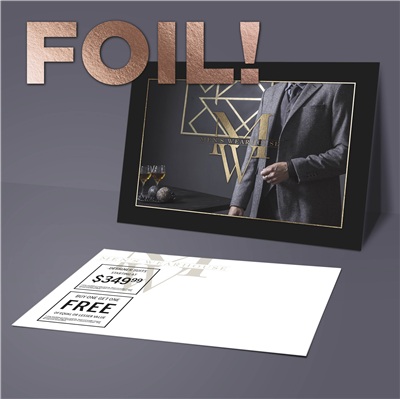 "5"" x 7"" Fashion Double Offer Promo Postcard with Foil"