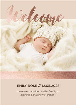 "5"" x 7"" Welcome Birth Announcement with Foil"