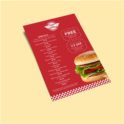 "6"" x 9"" Checkered Burger Menu with Coupon Flyer"