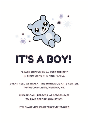 "5"" x 7"" Cartoon Teddy Baby Shower Invite"