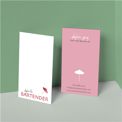 Mini Drink Umbrella Bartender Business Card