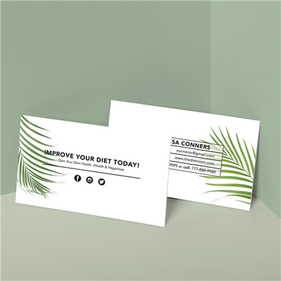 Palm Leaf Modern Grid Business Card