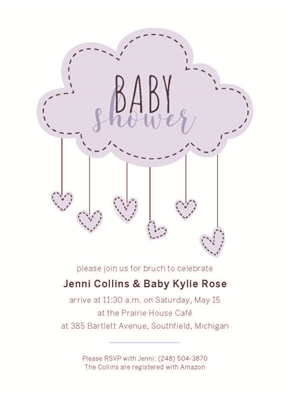 "5"" x 7"" Cloud Mobile Baby Shower Invitation"