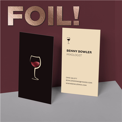 Wine Glass Bartender Business Card with Foil