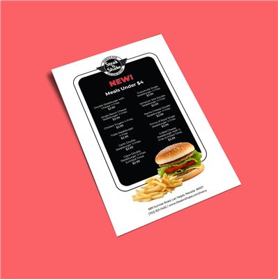 "6"" x 9"" Black & White Framed Menu Flyer"