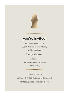 "5"" x 7"" Baby Bottle Shower Invite with Foil"